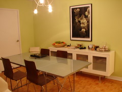 Ikea condo dinning area (Adventuress Heart) Tags: light house green ikea wall apartment space room cellphone condo decor sideboard hardwood         laptp