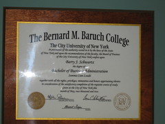 Barry's Diploma - Baruch College CUNY