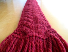 big fat red cabled scarf, detail