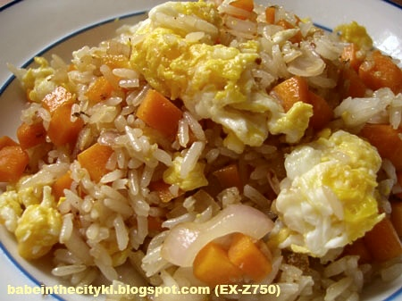 garlic, carrot, onions and eggs fried rice
