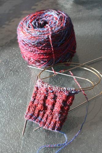 New sock! (Fiber Fiend Merino/Tencel in Fire & Ice colorway)