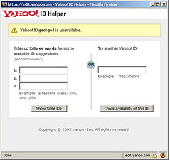 Yahoo's ID Helper screenshot