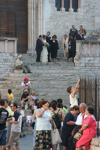 Perugia, wedding party and tourists