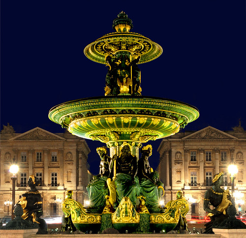 the Concorde square  by night in Paris