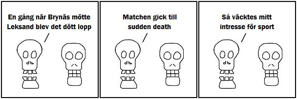 En gång när Brynäs mötte Leksand blev det dött lopp; Matchen gick till sudden death; Så väcktes mitt intresse för sport