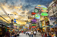 Khao San Road Sunset (Darby Sawchuk) Tags: travel sunset sky thailand asia neon bangkok backpacking neonsign hdr khaosanroad