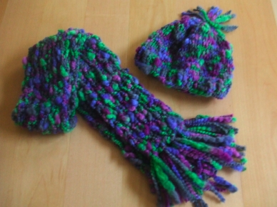 Fancy Yarn Scarf & Hat