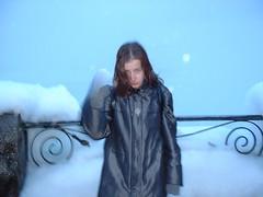 freezing at Niagara Falls in winter (Park Doc) Tags: winter portrait snow ontario canada blur cold art girl night niagarafalls frozen nightimages fuji niagara falls accidental spontaneous