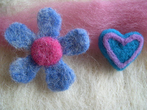 Needle Felted Flower & Heart