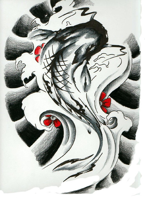 Koi Tattoo Flash. This is the original flash designed by Justina Kervel of