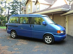 big blue camper van