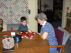 Jerryne and Gage playing checkers