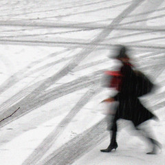 Crossing over  p2080902 (Lieven SOETE) Tags: brussels bw woman white snow black blackwhite donna mujer femme bruxelles brussel photopainting molenbeek ransfort lievensoete