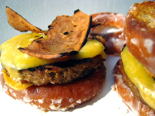 Veggieburger, Soy Bacon, and Cheese on a Whole Wheat Krispy Kreme Doughnut