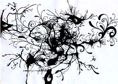 Weirdness in Black (autumn_bliss) Tags: blackandwhite ink sketch mess drawings monsters markers desenho sujeira monstros pantone pantoneprocessblack