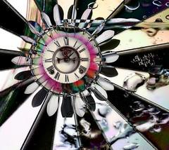 307 (Morpheus Down) Tags: bw flower clock water collage drops board liquid dart