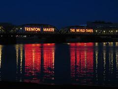 """Trenton Makes"" Bridge (magarell) Tags: bridge reflection night neon nj mercercounty delawareriver trenton trentonmakes"