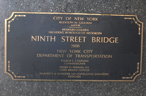 Plaque, Ninth Street Bridge