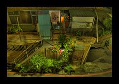 doo, doo, doo... (Jaboney) Tags: plant night stairs alley streetlight apartment streetlamp taiwan staircase taipei hdr photomatix 5xp