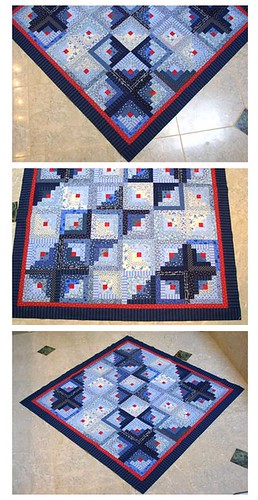 Blue and Red Log Cabin Quilt