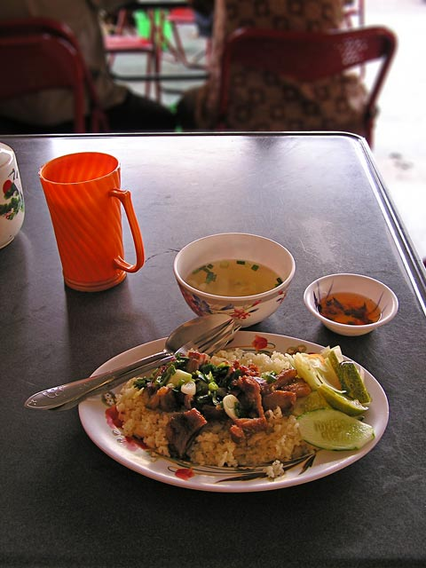 Cambodian food - pork and rice
