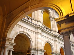 Framed View of Political Resolve (Buford Blue) Tags: architecture downtown dusk colonial australia arches brisbane queensland marble parliment oldcity impressedbeauty