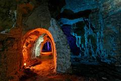 Protected path (Esprit de sel) Tags: blue orange catchycolors underground mine purple tunnel gypsum quarry 1022mm carrire souterraine gypse