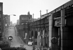 THEN Birmingham Snow Hill January 1975 (loose_grip_99) Tags: railroad bridge england car station train austin geotagged blackwhite birmingham railway mini viaduct 1975 disused westmidlands midlands signalbox snowhill greatwestern liverystreet geo:lat=52484427 geo:lon=1901193