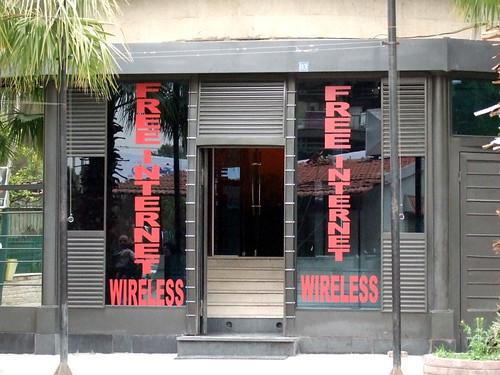 Trendy wireless internet café in Damascus, Syria