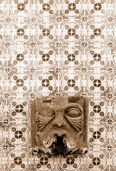 Tlaquepaque Fountain (janet little jeffers) Tags: arizona fountain sepia tile desert sedona tlaquepaque