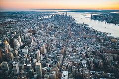 New York City during Sunset via Helicopter (BrendanBannister) Tags: new york city long exposure sunset sunflare brookyln manhatten flynyon nyonair helicopter aerial photography subway backdrop bokeh