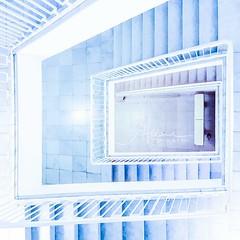 Staircase - looking down (janeway1973) Tags: staircase treppenhaus architecture architektur interior interieur stairs treppen stufen railing geländer blue blau cellphoneshot handyfoto s7