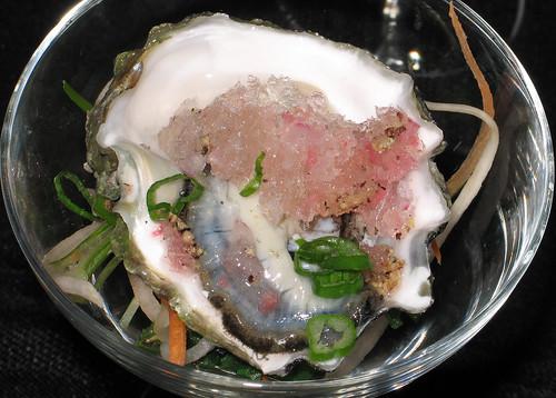 Kumamoto Oyster with pickled ginger-sake granita