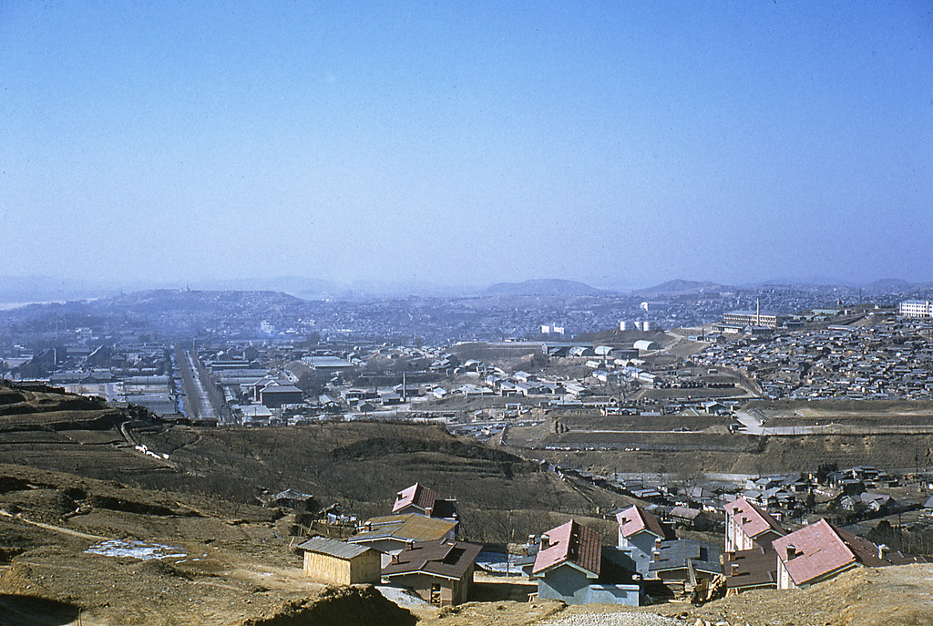 1960 Korea Looking West from Namsan Mountain Toward US 8th Army Main Post Rifle Firing Range