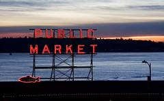 Pike Place (Fenchurch!) Tags: seattle sunset silhouette sign neon neonsign pikeplacemarket pikeplace
