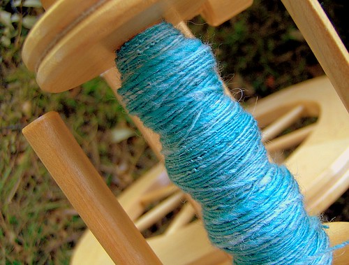 Handspun Corriedale Turquoise/Cream Blend