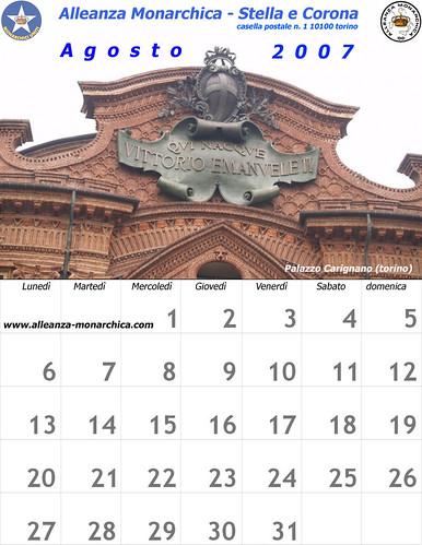 Calendario agosto 2007