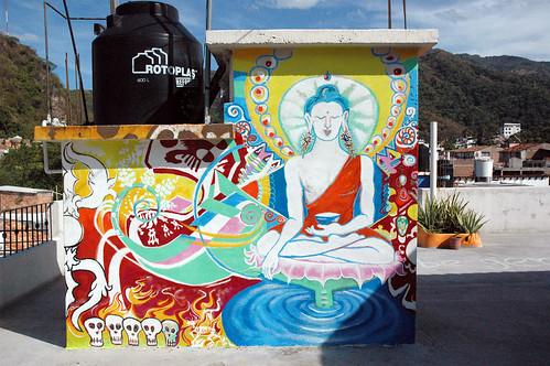 Vajrasattva, a Mexican - Tibetan Buddha rooftop in Puerto Vallarta, Jalisco, Mexico by Wonderlane