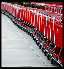 Untitled 121 (kmroddy) Tags: red topf25 shopping found parkinglot pattern patterns curves perspective target carts unexpected reptition