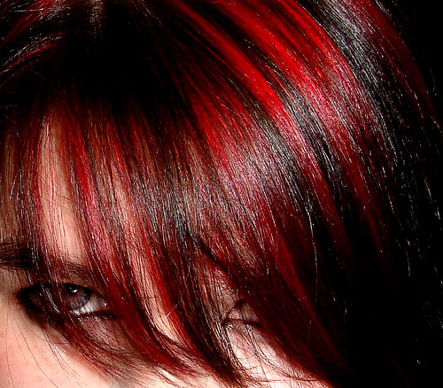 red hair on black hair