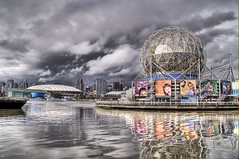 The Tesla Coil in a Storm (Stuck in Customs) Tags: canada storm reflection water museum architecture vancouver clouds photography bay nikon photographer britishcolumbia science electricity inventor coil hdr tesla nikola highquality waterbody stuckincustoms treyratcliff