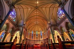 St. Andrews Cathedral (DARREN ST0NE) Tags: pink blue light red favorite canada color green 20d window glass architecture canon macintosh eos interesting mac catholic bc purple christ cross angle cathedral god britishcolumbia quality canon20d explorer mary wide perspective surreal arches victoria christian stained altar virgin explore crucifix universal photoshopcs brilliant 1022mm pews hdr papercut eos20d photomatix photomechanic explored darrenstone keystoneing lightgazer