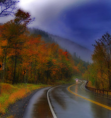 Gloomy Rain (NY Longbow) Tags: autumn rain highway adirondacks explore orton interestingness72 karmapotd karmapotw colorphotoaward impressedbeauty