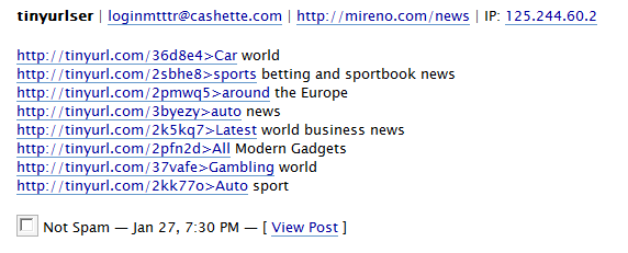 Example showing the use of TinyURL in blog spam