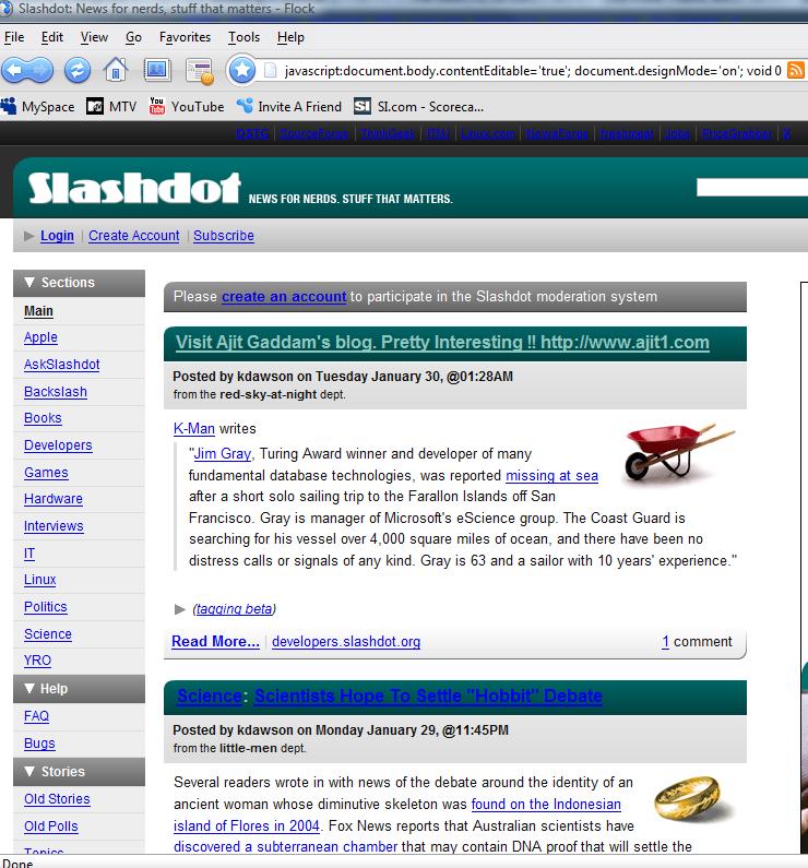 Webpage edit of Slashdot on the fly