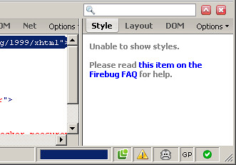Screenshot showing a bug in Firebug 1.0