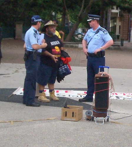 Sam Watson discusses arrangements with police - Invasion Day Rally and March, Parliament House, George St, Brisbane, Queensland, Australia 070126
