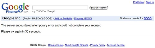 Google Finance Down
