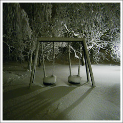 Winter playground ([ Petri ]) Tags: winter snow night espoo finland garden background swing lumi talvi keinu supershot abigfave laitmanintie