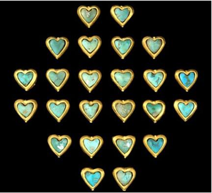 Afganistán placas corazón oro turquesas